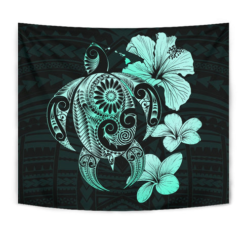 Image of Hibiscus Plumeria Mix Polynesian Turquoise Turtle Tapestry - AH - J1 - Alohawaii