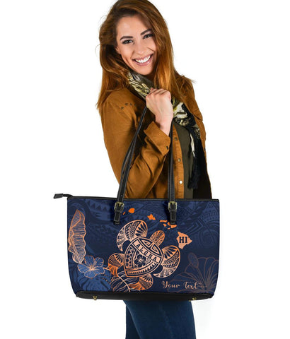 Hawaii Kakau Polynesian Aloha Turtle Map Large Leather Tote