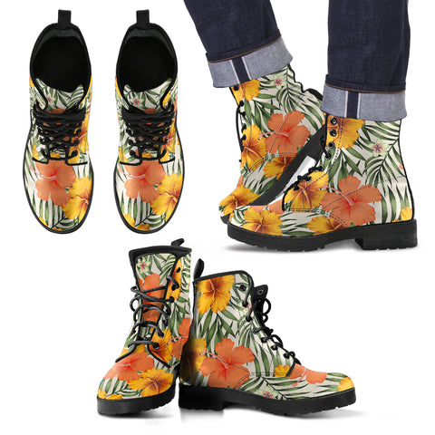 Image of Hawaii Yellow Hibiscus Leather Boots - AH J2 - Alohawaii