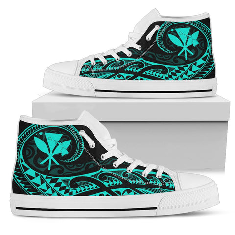 Hawaiian Kanaka State Tattoo Swirly Turquoise Polynesian High Top Shoes - AH - JG1