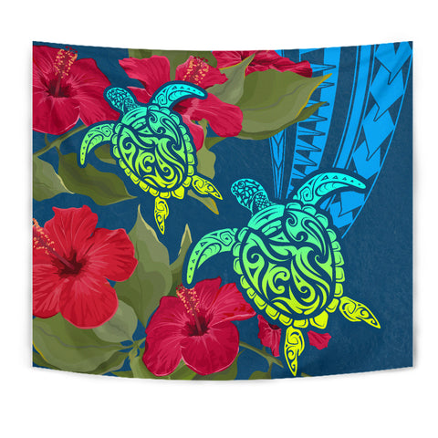 Hawaii Turtle Hibiscus Polynesian Tapestry