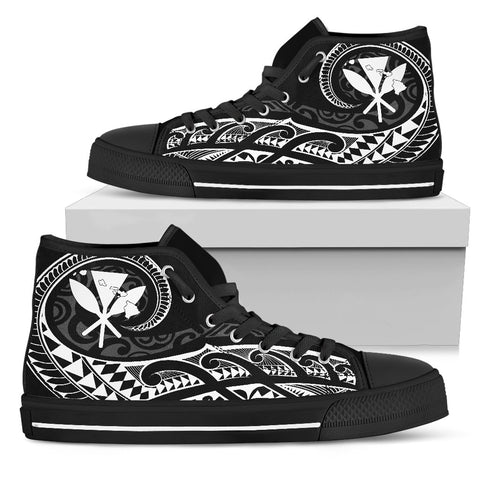 Hawaiian Kanaka State Tattoo Swirly White Polynesian High Top Shoes
