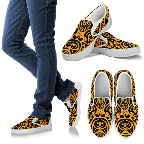 Polynesian Slip Ons Yellow Black - AH - J1 - Alohawaii