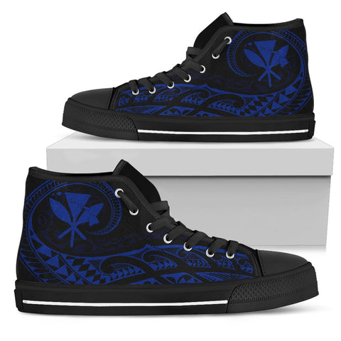 Hawaiian Kanaka State Tattoo Swirly Blue Polynesian High Top Shoes