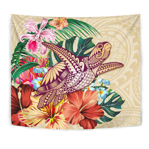 Hawaii Tropical Hibiscus Plumeria Turtle Beige Tapestry