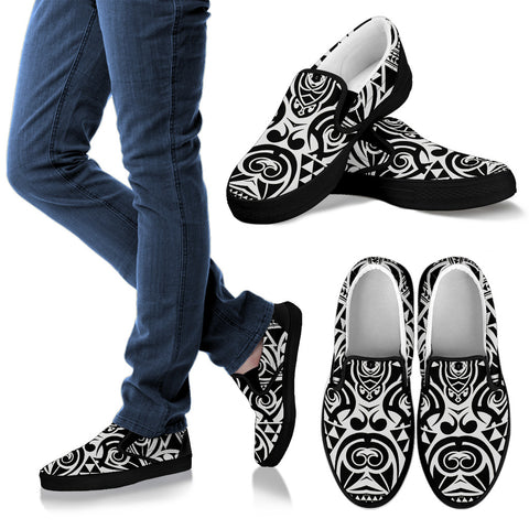 Polynesian Tribal Slip Ons Black White - AH - J1 - Alohawaii