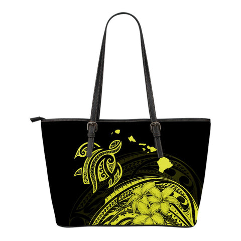 Hawaii Map Plumeria Polynesian Yellow Turtle Small Leather Tote - AH - J1 - Alohawaii