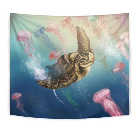 Hawaii Turtle And Jellyfish In Deep Sea Moana Tapestry