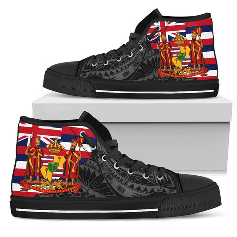 Hawaii High Top Shoes State Royal Flag Polynesian Black Pride