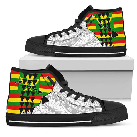 Image of Hawaii High Top Shoes Kanaka Maoli Flag Polynesian Pride White AH J1 - Alohawaii
