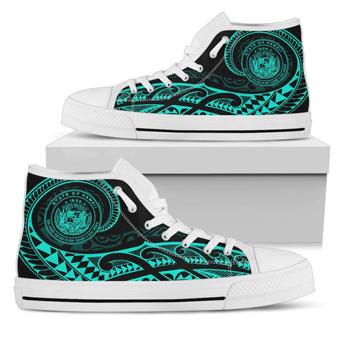Hawaii State Tattoo Swirly Turquoise Polynesian High Top Shoes - AH - JG1