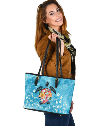 Personalized - Hawaii Turtle Hibiscus Plumeria Blue Small Leather Tote Bag - AH - J4 - Alohawaii