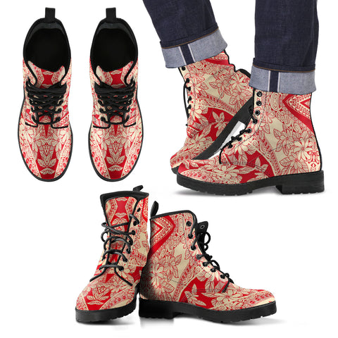 Polynesian Leather Boots Red And Yellow - AH - J1 - Alohawaii