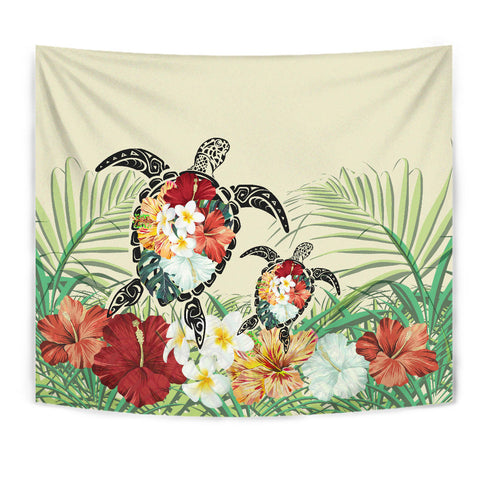 Hawaii Turtle Flowers Coconut Tree Leaf Tapestry - AH - J4 - Alohawaii