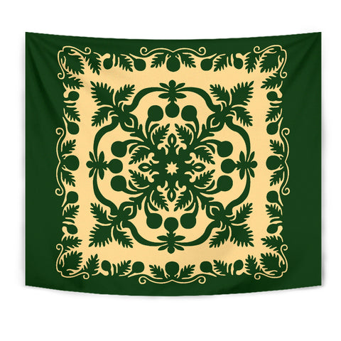 Image of Hawaiian Tapestry Royal Pattern - Emerald Green - AH - J6 - Alohawaii