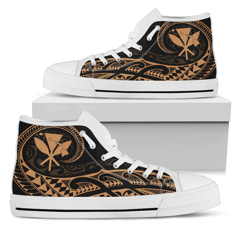 Hawaiian Kanaka State Tattoo Swirly Gold Polynesian High Top Shoes - AH - JG1