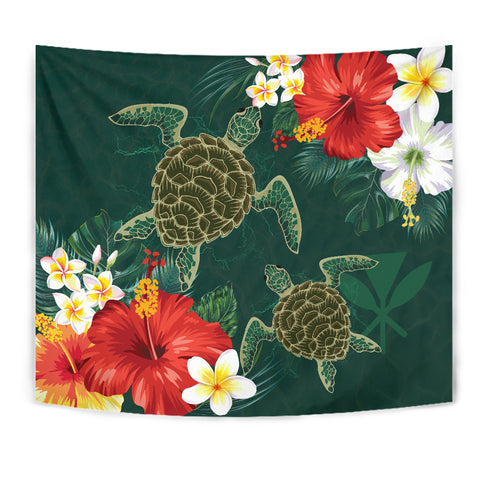 Hawaii Sea Turtle Hibiscus Plumeria Tapestry - AH - J4 - Alohawaii