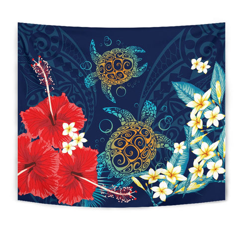 Hawaiian Turtle Hibiscus Polynesian Tapestry - Blue - Edna Style - AH - J2