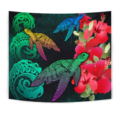 Hawaii Turtle Wave Hibiscus Tapestry