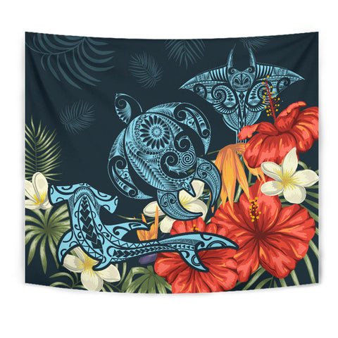 Hawaii Turtle Shark Manta Ray Hibiscus Plumeria Tapestry