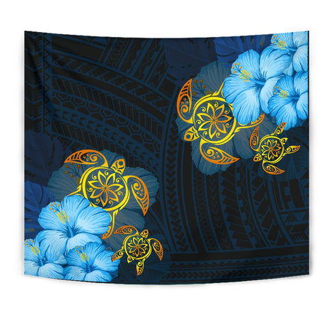 Hawaii Tapestry -  Turtle Hibiscus Pattern Hawaiian Tapesty - Blue - AH - J2