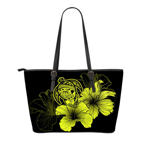 Hawaii Hibiscus Small Leather Tote Bag - Turtle Map - Yellow - AH J9 - Alohawaii