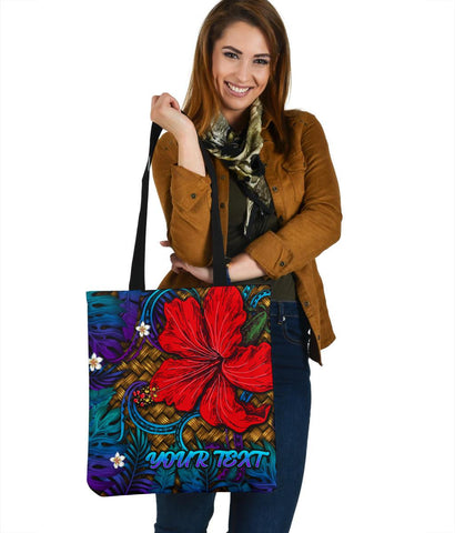 Image of Hawaii Lauhala Hibiscus Polynesian Tropical Tote Bag