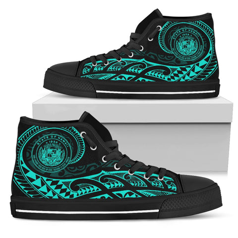 Hawaii State Tattoo Swirly Turquoise Polynesian High Top Shoes