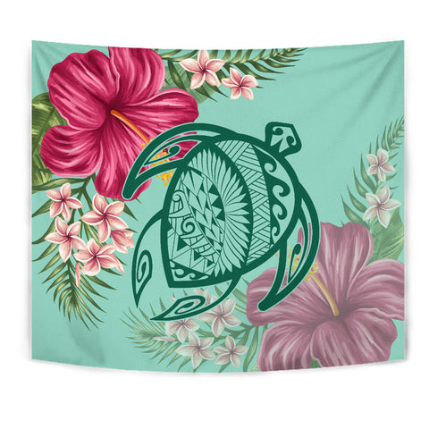 Image of Hawaii Turtle Hibiscus Plumeria Tapestry - Hug Style