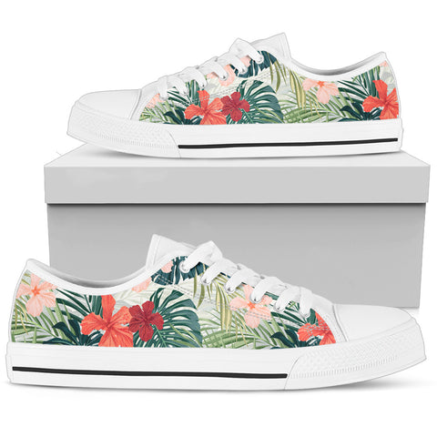Hawaii Bright Green Hibiscus Pattern Low Top Shoe - AH