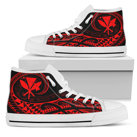Hawaiian Kanaka State Tattoo Swirly Red Polynesian High Top Shoes - AH - JG1