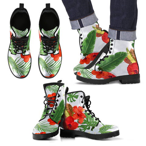 Hawaii White Hibiscus Palm Leather Boots - AH J2 - Alohawaii