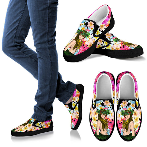 Image of Hawaii Plumeria Hula Girl Slip Ons - AH - J5 - Alohawaii