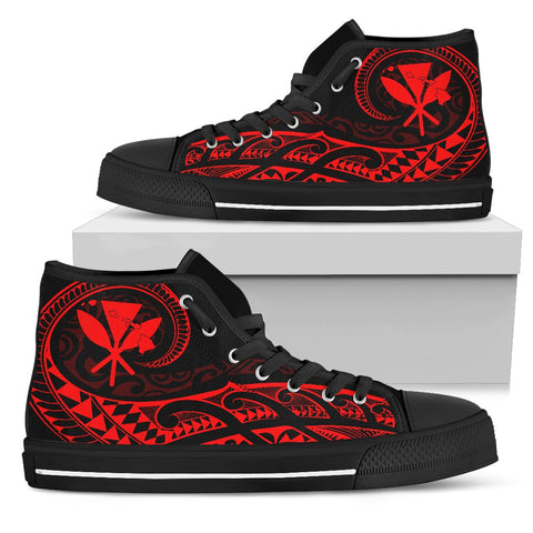 Hawaiian Kanaka State Tattoo Swirly Red Polynesian High Top Shoes