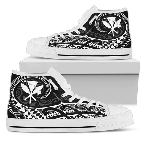 Hawaiian Kanaka State Tattoo Swirly White Polynesian High Top Shoes - AH - JG1