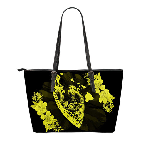 Hawaii Hibiscus Banzai Surfing Small Leather Tote Bag Yellow - AH - J5 - Alohawaii