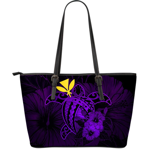 Hawaii Hibiscus Large Leather Tote Bag - Harold Turtle - Purple - AH J9 - Alohawaii
