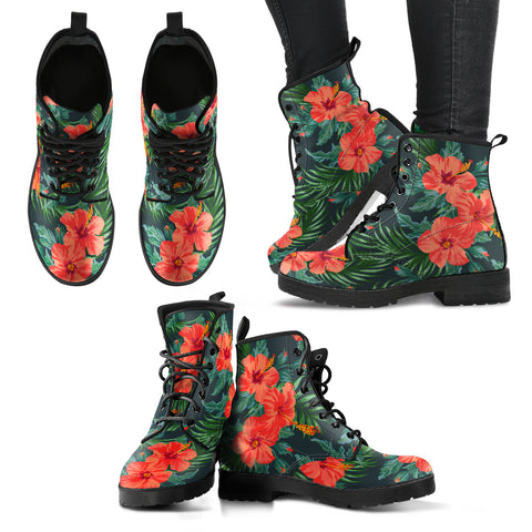 Hawaii Red Hibiscus Leather Boots - AH J2 - Alohawaii