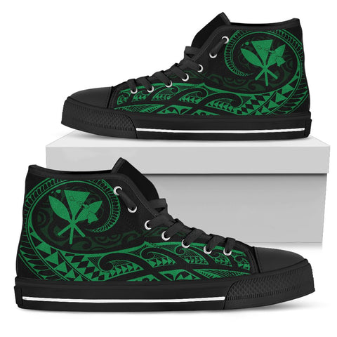 Hawaiian Kanaka State Tattoo Swirly Green Polynesian High Top Shoes
