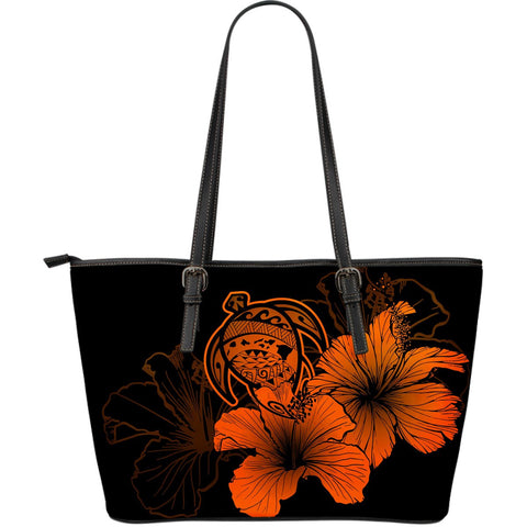 Hawaii Hibiscus Large Leather Tote Bag - Turtle Map - Orange - AH J9 - Alohawaii