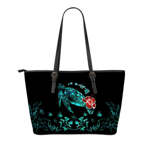 Hawaii Ohana Honu Paua Shell Small Leather Tote - AH J9 - Alohawaii