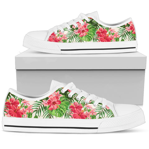 Image of Hawaii Green Hibiscus Palm Tribal Low Top Shoe - AH