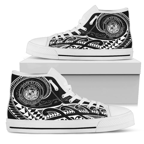 Hawaii State Tattoo Swirly White Polynesian High Top Shoes - AH - JG1