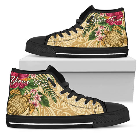 Alohawaii High Top Shoe - Turtle High Top Shoe Strong Pattern Hibiscus Plumeria