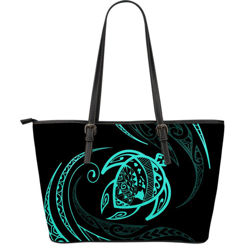 Hawaii Turtle Large Leather Tote - Turquoise - Frida Style - AH J9 - Alohawaii