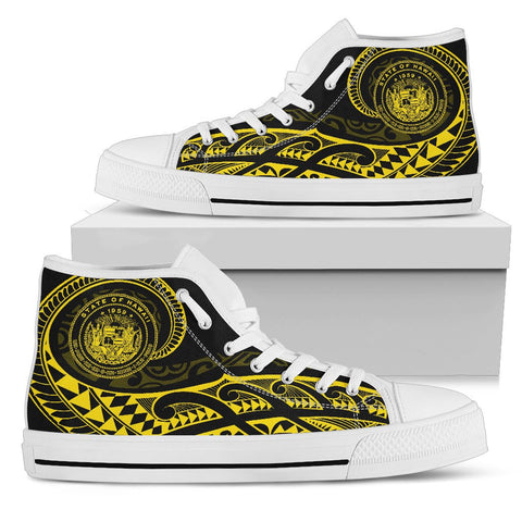 Hawaii State Tattoo Swirly Yellow Polynesian High Top Shoes - AH - JG1