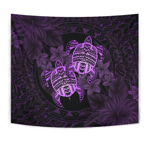 Alohawaii Tapestry - Turtle Strong Pattern Hibiscus Plumeria Violet