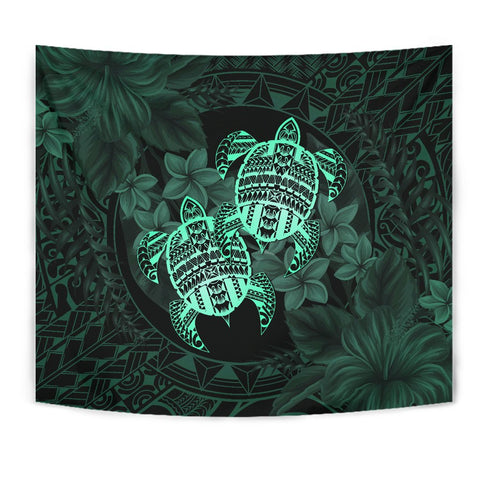 Alohawaii Tapestry - Turtle Strong Pattern Hibiscus Plumeria Turquoise
