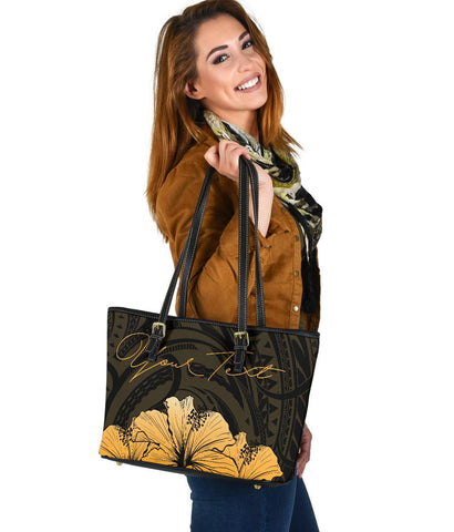Personalised - Hawaii Royal Hibiscus Polynesian Tribal Small Leather Tote Bag Gold AH J1 - Alohawaii