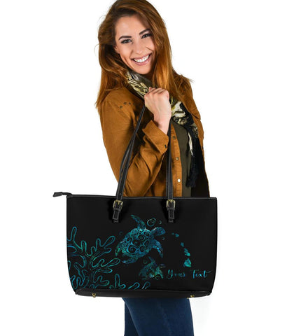 Personalized- Hawaii Turtle Ohana Paua Shell Large Leather Tote - AH - J4 - Alohawaii